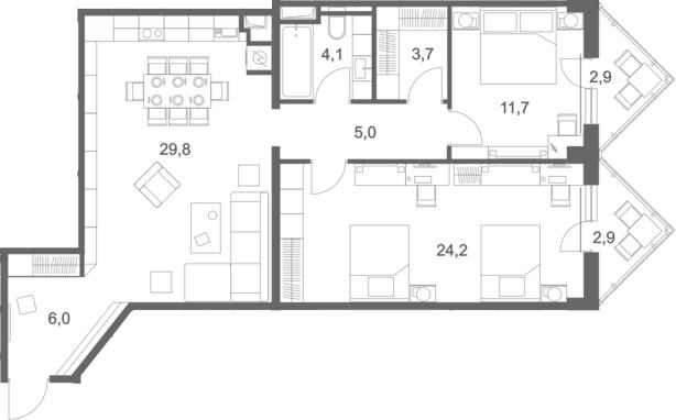 3Е-комнатная, 90.3 м²– 2