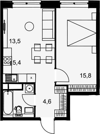 2Е-комнатная, 43.6 м²– 2