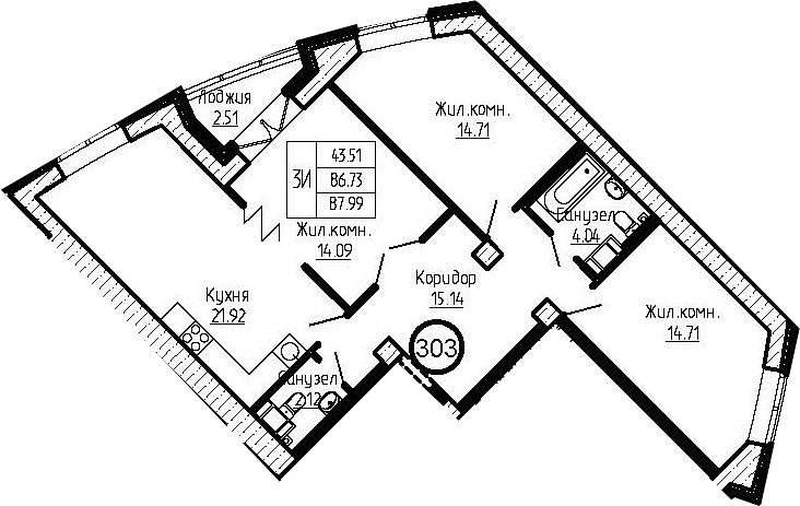 4-к.кв (евро), 89.25 м²