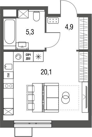 Студия, 30.3 м², 2 этаж – Планировка