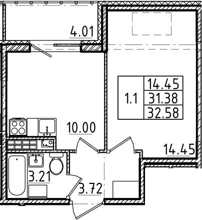 1-комнатная, 31.38 м²– 2