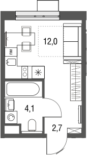 Студия, 18.8 м²