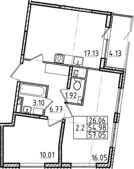 3Е-комнатная, 54.98 м²– 2