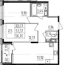 3Е-к.кв, 53.51 м², 2 этаж