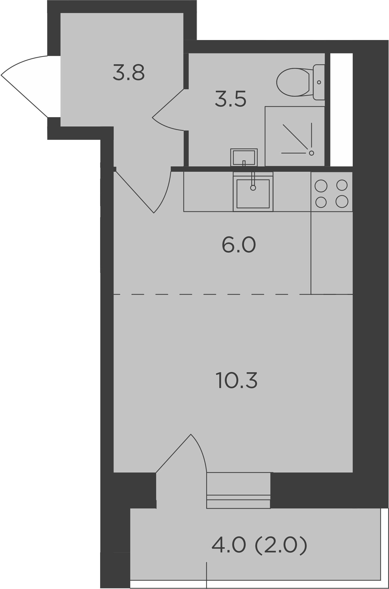 Студия, 25.6 м², 5 этаж
