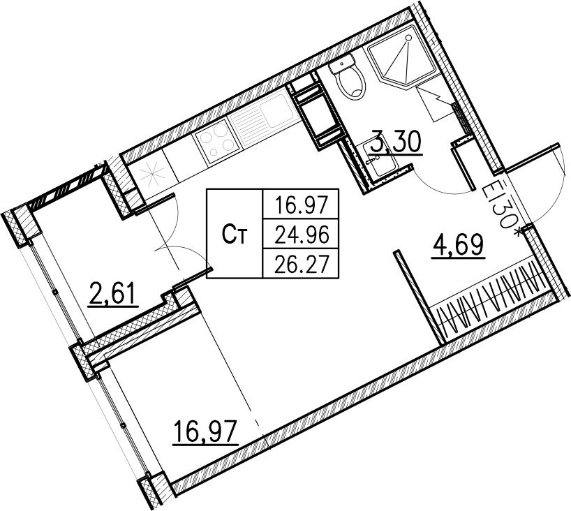 Студия, 26.27 м²– 2