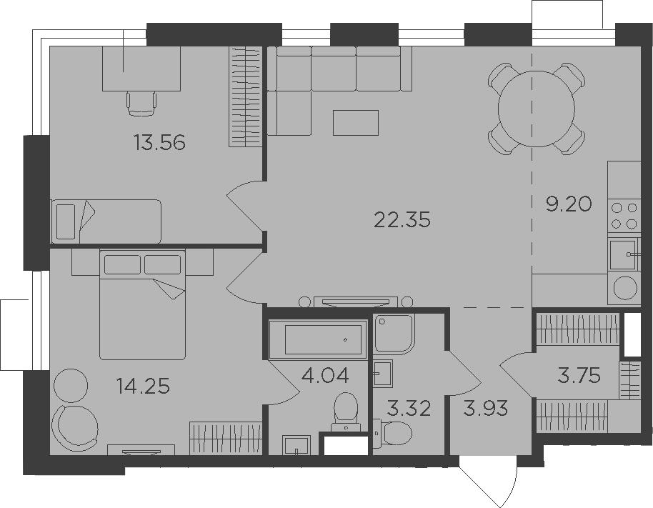 3-к.кв (евро), 74.4 м²