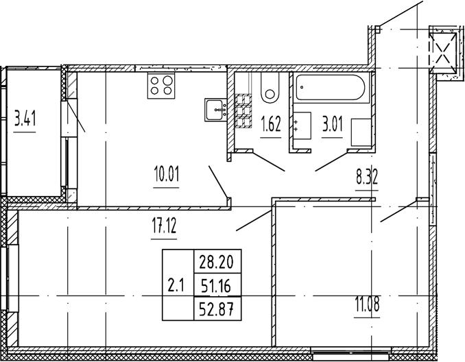 2-к.кв, 51.16 м²