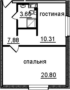 1-к.кв, 42.59 м², от 4 этажа
