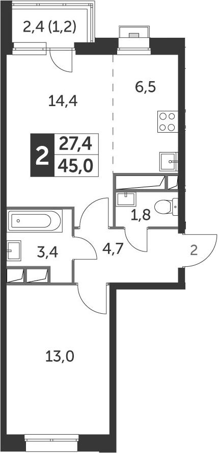 2Е-к.кв, 45 м², 5 этаж