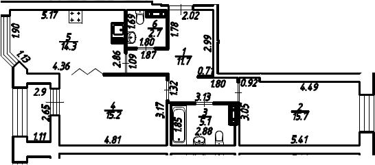 2-к.кв, 66.15 м², 8 этаж