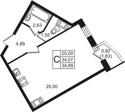 Студия, 35.71 м²