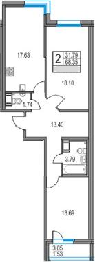 3Е-комнатная, 68.35 м²– 2