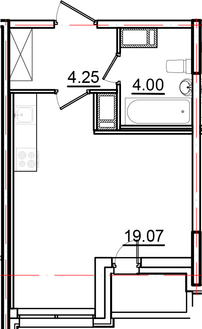 Студия, 28.29 м², от 9 этажа