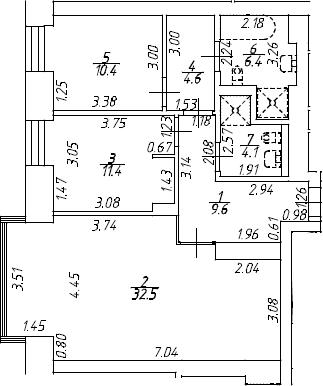 3Е-к.кв, 79 м², 7 этаж