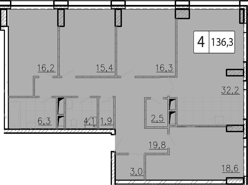 5-к.кв (евро), 136.4 м²
