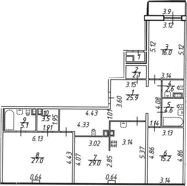4Е-комнатная, 133 м²– 2
