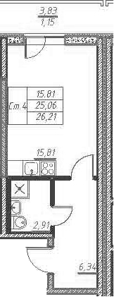 Студия, 28.89 м²