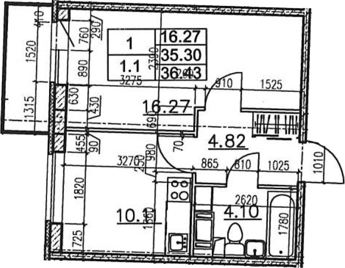 1-к.кв, 39.07 м²