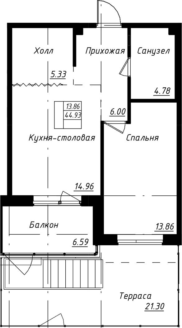 2-к.кв (евро), 72.82 м²