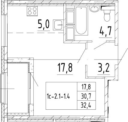 Студия, 32.4 м², от 7 этажа