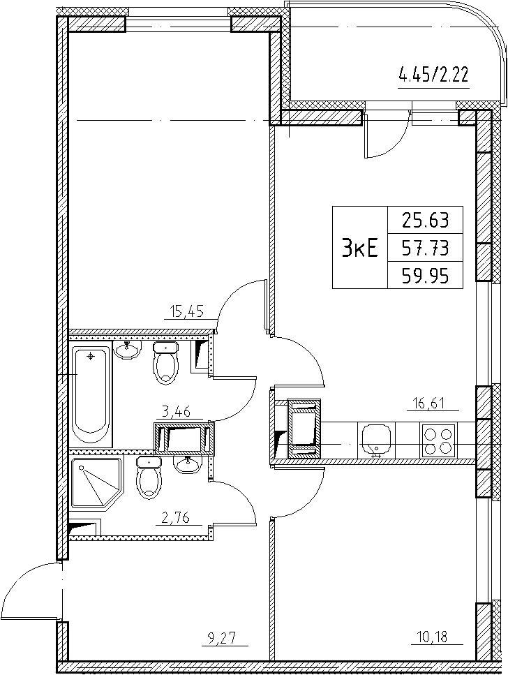 3-к.кв (евро), 62.17 м²