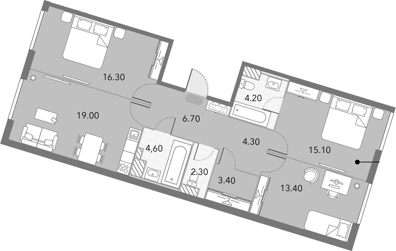4Е-комнатная, 89.3 м²– 2