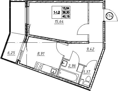 1-к.кв, 44.55 м²