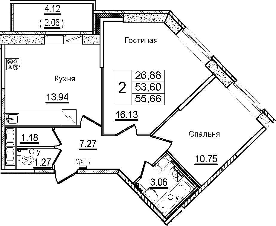 2-комнатная, 55.66 м²– 2