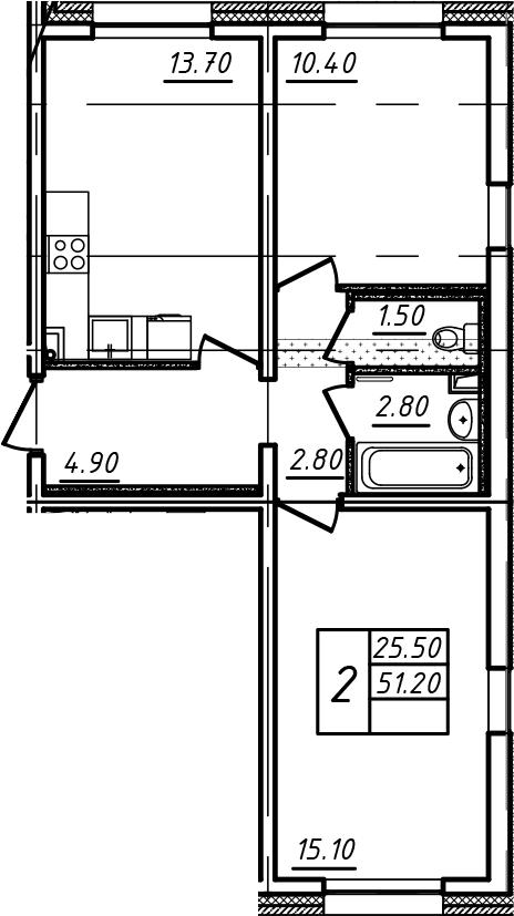 2-к.кв, 51.2 м²