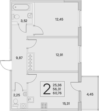 3Е-комнатная, 62.1 м²– 2