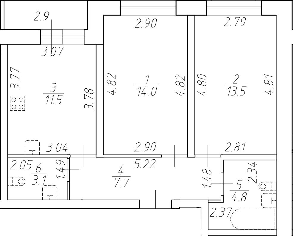 2-к.кв, 54.6 м²
