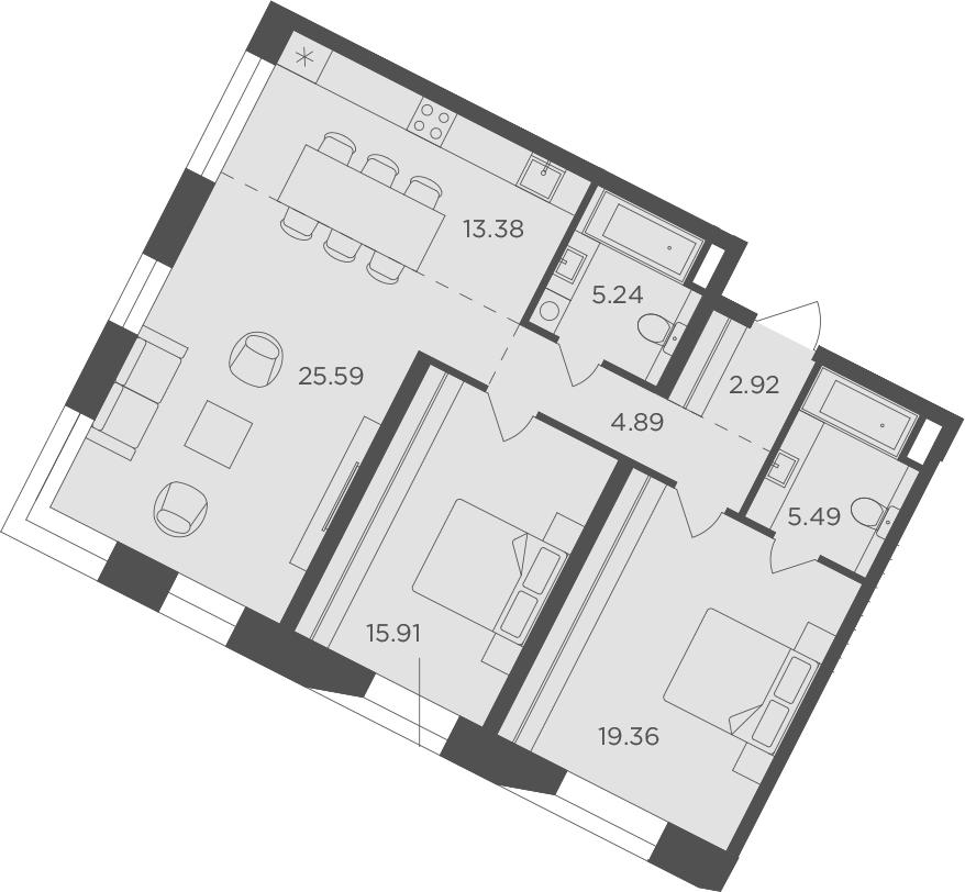 3Е-комнатная, 92.78 м²– 2