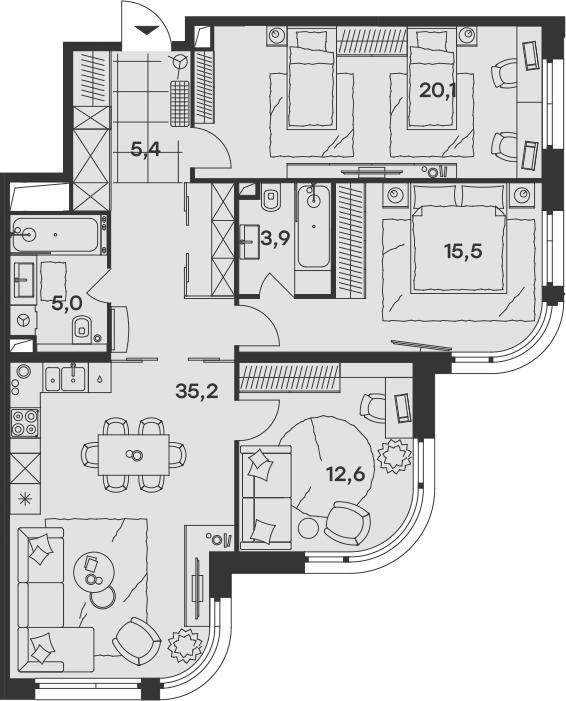 4-к.кв (евро), 97.7 м²