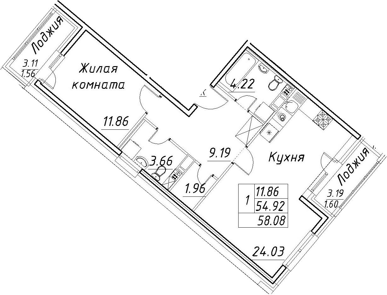2-к.кв (евро), 61.24 м²