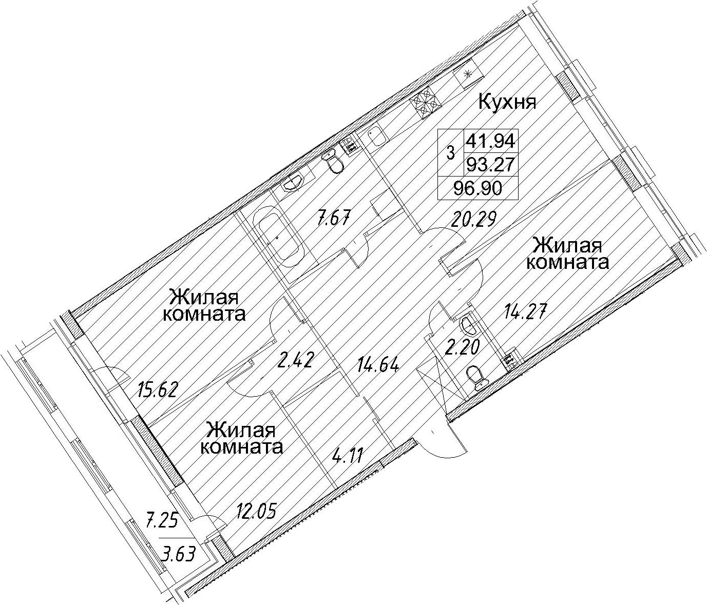 3-к.кв, 100.53 м²