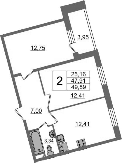 2-к.кв, 51.86 м²