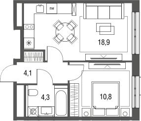 2Е-к.кв, 38.1 м², 4 этаж