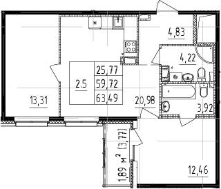 3Е-к.кв, 59.72 м², от 6 этажа