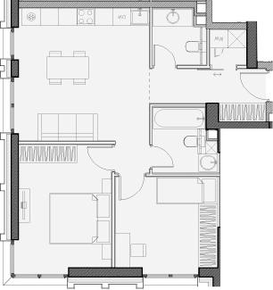 Свободная планировка, 56.8 м²– 2