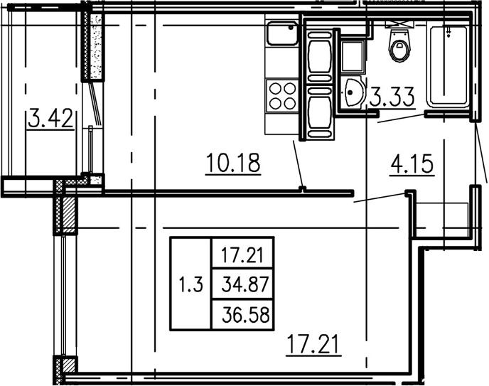 1-комнатная, 34.87 м²– 2