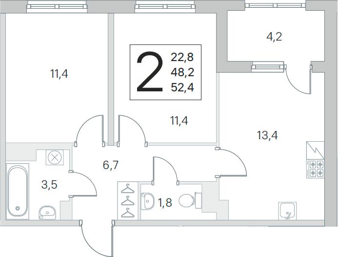 3Е-к.кв, 48.2 м², 2 этаж