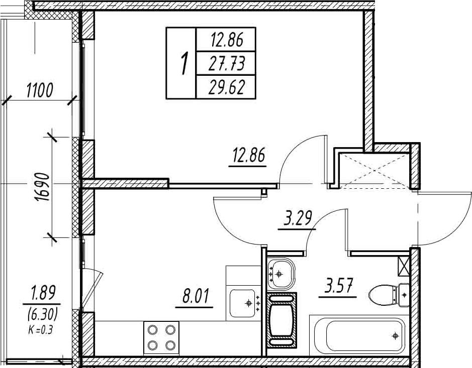 1-к.кв, 34.03 м²