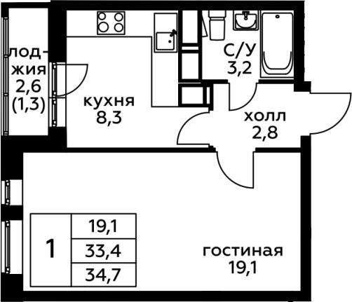 1-к.кв, 34.7 м², от 8 этажа
