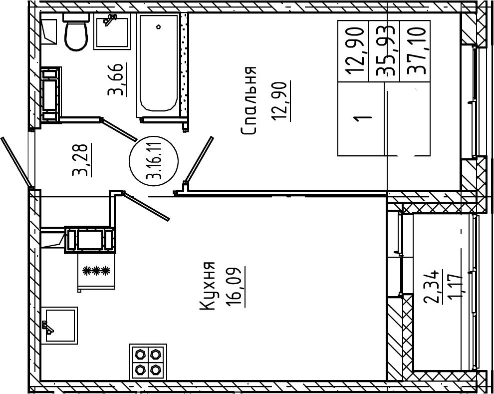 2Е-к.кв, 37.1 м², от 4 этажа
