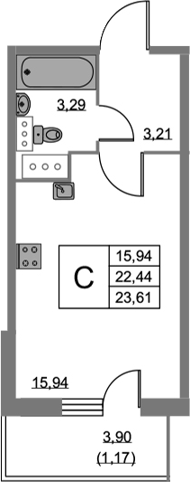 Студия, 23.61 м², 10 этаж