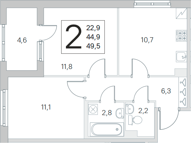 2-комнатная, 44.9 м²– 2