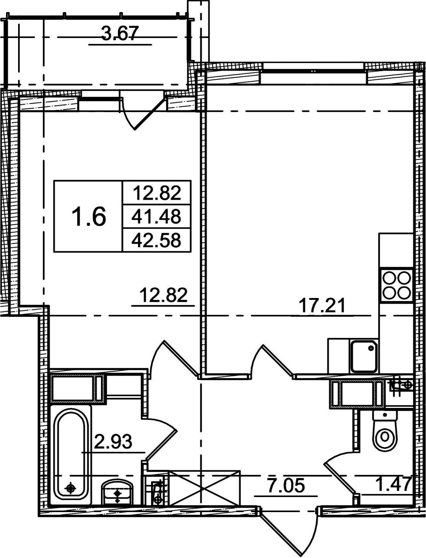 2Е-к.кв, 41.48 м², от 7 этажа