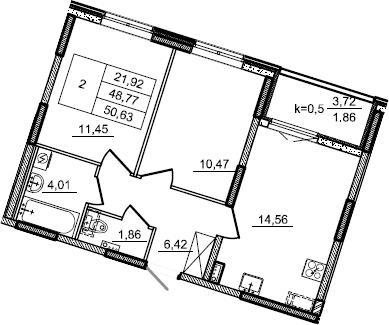 2-к.кв, 50.63 м², 2 этаж