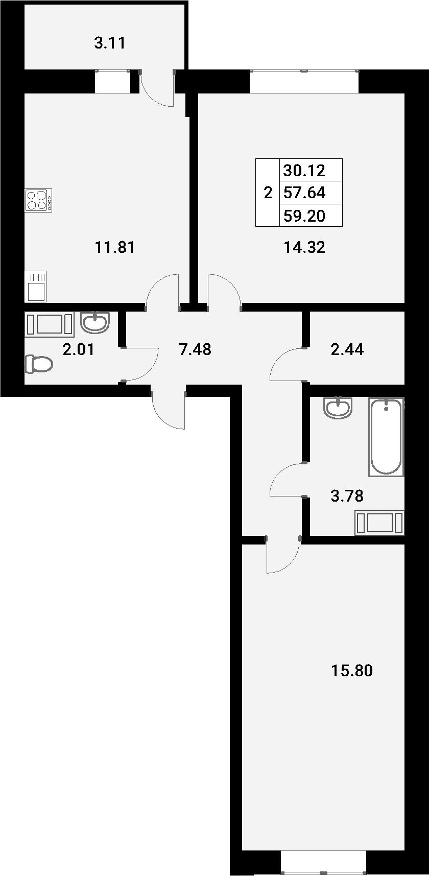 2-к.кв, 60.75 м²